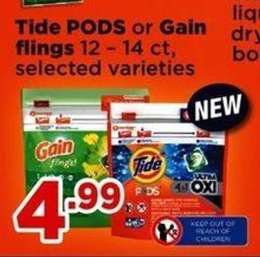 Tide PODS Or Gain Flings - 12 – 14 Ct