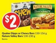 Quaker Dipps or Chewy Bars 150-156 g Nature Valley Bars 130-230 g