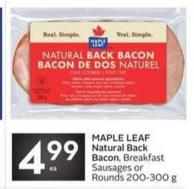 Maple Leaf Natural Back Bacon