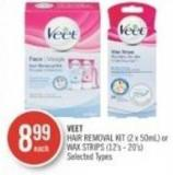 Veet Hair Removal Kit (2 X 50ml) or Wax Strips (12's - 20's)
