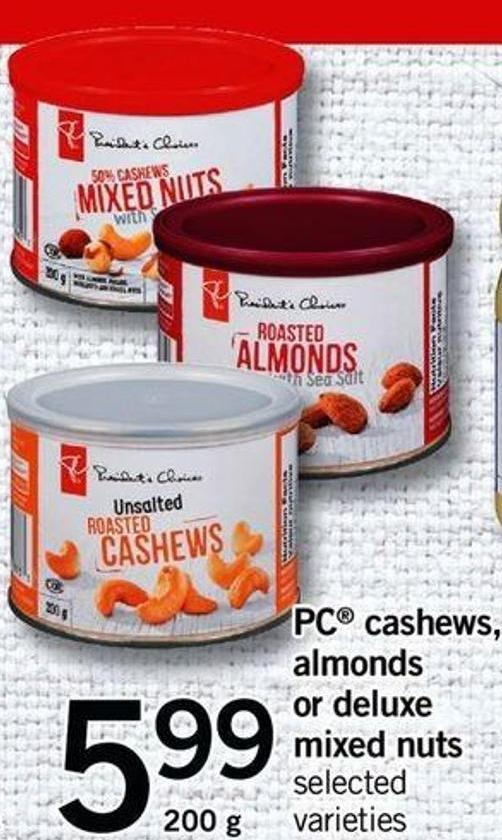 PC Cashews - Almonds Or Deluxe Mixed Nuts - 200 G