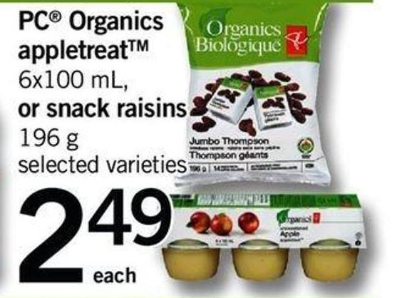 PC Organics Appletreat - 6x100 Ml Or Snack Raisins - 196 G