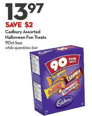 Cadbury Assorted Halloween Fun Treats 90ct Box While Quantities Last