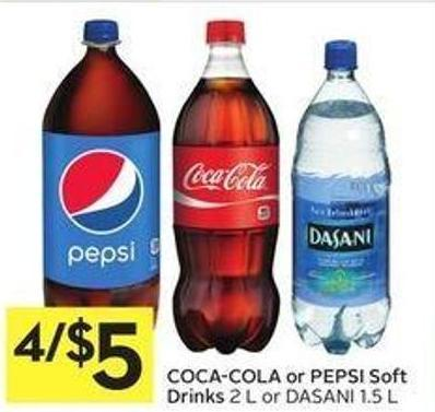 Coca-cola or Pepsi Soft Drinks 2 L or Dasani 1.5 L