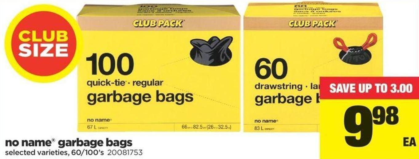 No Name Garbage Bags - 60/100's