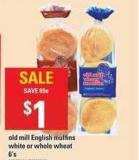 Old Mill English Muffins White Or Whole Wheat - 6's