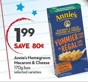 Annie's Homegrown Macaroni & Cheese 170g Box