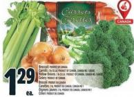 Broccoli Product Of Canada Carrots 2 Lb Cello - Product Of Canada - Canada No. 1 Grade Yellow Onions 2 Lb Cello - Product Of Canada - Canada No. 1 Grade Celery Product Of Canada