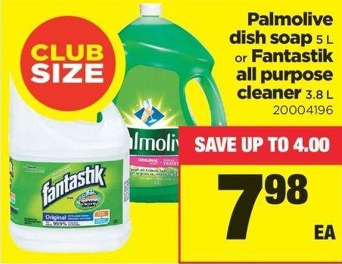 Palmolive Dish Soap - 5 L Or Fantastik All Purpose Cleaner - 3.8 L