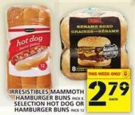 Irresistibles Mammoth Hamburger Buns or Selection Hot Dog Or Hamburger Buns Pack
