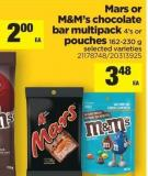 Mars Or M&m's Chocolate Bar Multipack 4's Or Pouches 162-230 g
