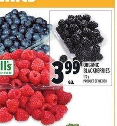 Driscoll's Organic Blueberries 170 g Product Of U.S.A. - No. 1 Grade Organic Raspberries 170 g Product Of U.S.A. Or Mexico - No. 1 Grade