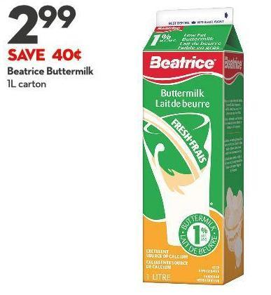 Beatrice Buttermilk 1l Carton