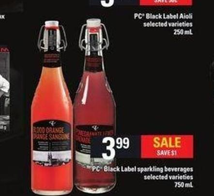 PC Black Label Sparkling Beverages - 750 mL
