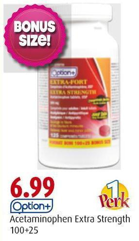 Option+ Acetaminophen Extra Strength 100+25