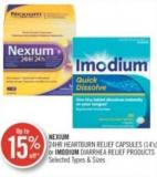 Nexium 24hr Heartburn Relief Capsules (14's) or Imodium Diarrhea Relief Products
