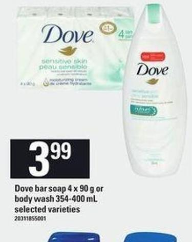 Dove Bar Soap - 4 X 90 g or Body Wash - 354-400 mL