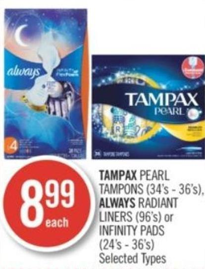 Tampax Pearl Tampons (34's - 36's) - Always Radiant Liners (96's) or Infinity Pads (24's-36's)