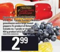 Blueberries - 311-340 G Or Farmer's Market Greenhouse Extra Large Sweet Peppers - 3's Or Strawberries - 454 G