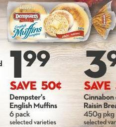 Dempster's English Muffins 6 Pack