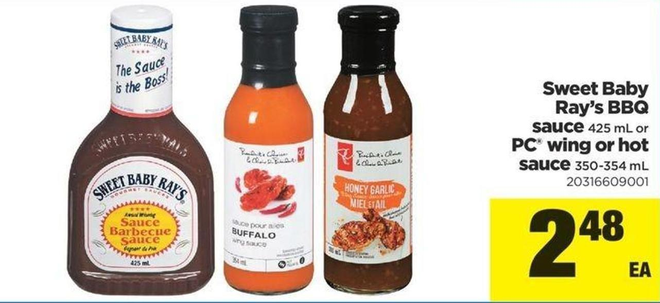Sweet Baby Ray's Bbq Sauce 425 Ml Or PC Wing Or Hot Sauce 350-354 Ml
