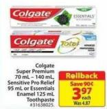 Colgate Super Premium 70 Ml- 140 mL Sensitive Pro Relief 95 mL or Essentials Enamel 125 mL Toothpaste