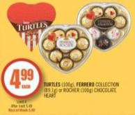Turtles (100g) - Ferrero Collection (89.1g) or Rocher (100g) Chocolate Heart