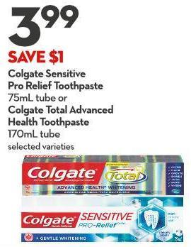 Colgate Sensitive  Pro Relief Toothpaste 75ml Tube or Colgate Total Advanced  Health Toothpaste 170ml Tube