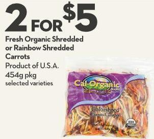 Fresh Organic Shredded or Rainbow Shredded Carrots