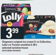 Chapman's Original Ice Cream 2 L Or Collection - Lolly's Or Twister Novelties 6-28's