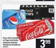 Coca-cola - Canada Dry Or Pepsi Soft Drinks - 10x222 Ml/12x355 Ml