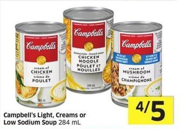 Campbell's Light - Creams or Low Sodium Soup 284 mL