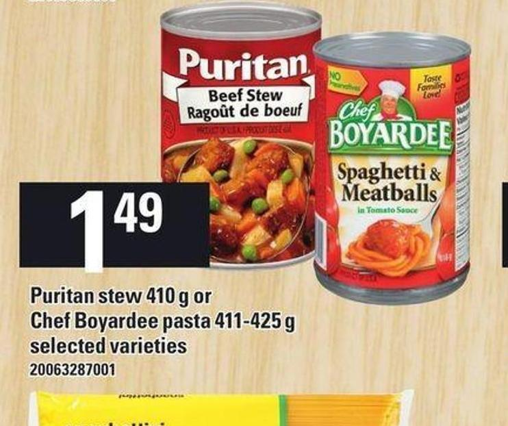 Puritan Stew - 410 G Or Chef Boyardee Pasta - 411-425 G