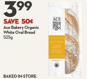 Ace Bakery Organic White Oval Bread 525g