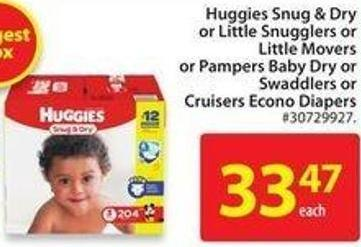 Huggies Snug & Dry or Little Snugglers or Little Movers