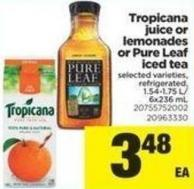Tropicana Juice Or Lemonades Or Pure Leaf Iced Tea - 1.54-1.75 L/ 6x236 mL