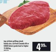 Top Sirlioin Grilling Steak Family Size Select Grade Beef Or Higher