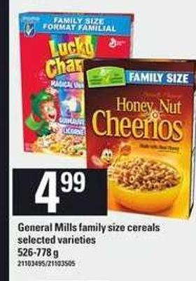 General Mills Family Size Cereals - 526-778 g