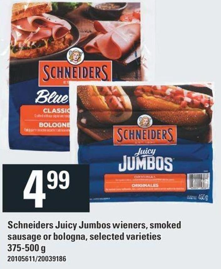 Schneiders Juicy Jumbos Wieners - Smoked Sausage Or Bologna - Selected Varieties - 375-500 g