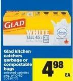 Glad Kitchen Catchers Garbage Or Compostable Bags - Pkg Of 10-52