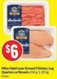 Mina Halal Lean Ground Chicken - Leg Quarters or Breasts 454 G-1.18 Kg