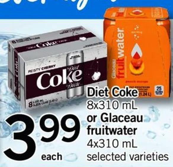 Diet Coke - 8x310 Ml Or Glaceau Fruitwater - 4x310 Ml