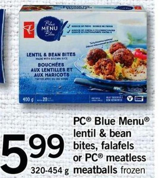 PC Blue Menu Lentil & Bean Bites - Falafels Or PC Meatless Meatballs - 320-454 G