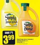 Simply Orange Juice or Lemonade or Gold Peak Iced Tea 2.63 L Fairlife Milk 1.5 L