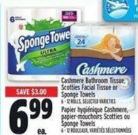 Cashmere Bathroom Tissue - Scotties Facial Tissue Or Sponge Towels 6 - 12 Rolls -