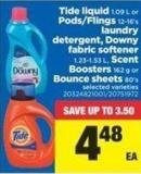 Tide Liquid 1.09 L Or Pods/flings 12-16's Laundry Detergent - Downy Fabric Softener 1.23-1.53 L - Scent Boosters 162 G Or Bounce Sheets 80's