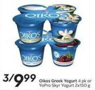 Dannon Oikos Greek Yogurt 4 Pk or Yopro Skyr Yogurt 2x150 g