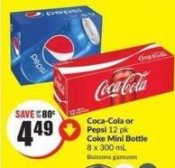 Coca-cola or Pepsi 12 Pk Coke Mini Bottle 8 X 300 mL