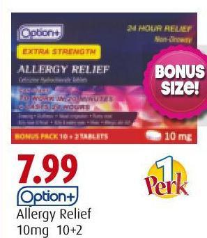 Option+ Allergy Relief  10mg 10+2