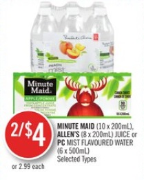Minute Maid(10 X 200 Ml) - Allen's (8 X 200 Ml) Juice or PC Mist Flavoured Water (6 X 500 Ml)